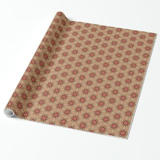 Christmassy Colored Golden Bursts Wrapping Paper