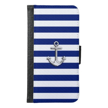 Chrome Anchor on Nautical Navy Blue Stripes Print Wallet Phone Case For Samsung Galaxy S6