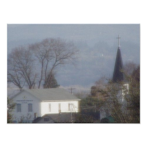 Church steeple on a hazy blue day #2 print