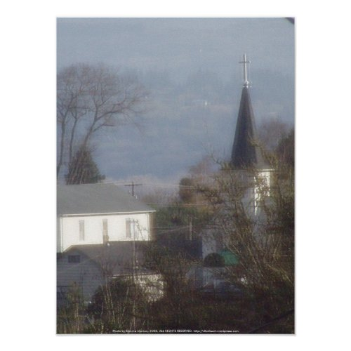 Church steeple on a hazy blue day print