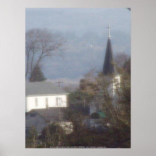 Church steeple on a hazy blue day print
