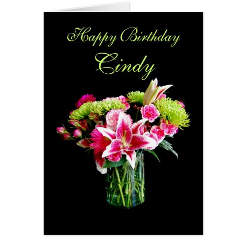 Cindy Happy Birthday, Stargazer Lily Bouquet Cards