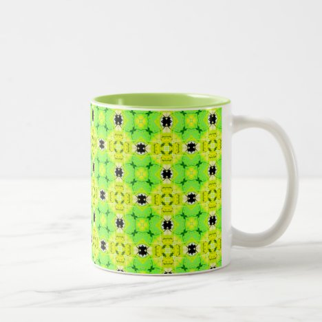 Circle Lattice of Floral Lime Green Modern Quilt Two-Tone Coffee Mug