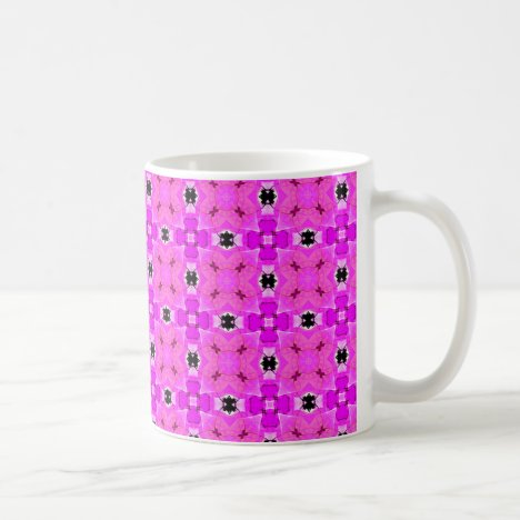 Circle Lattice of Floral Pink Violet Modern Quilt Coffee Mug