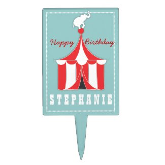 Circus Tent & Elephant Kids Birthday Cake Topper