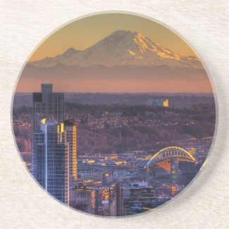 Cityscape view of Seattle downtown, football Beverage Coaster