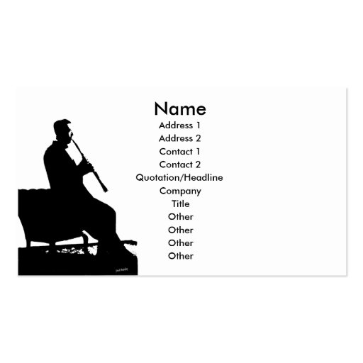 Clarinet Player Profile Card Template Double-Sided
