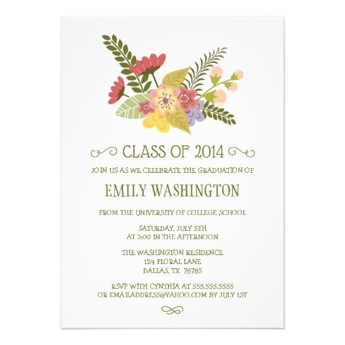 Class of 2014 flowers bouquet graduation party personalized invites
