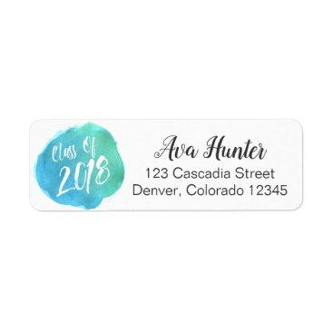 Class of 2018 Blue Watercolor Dot Address Labels