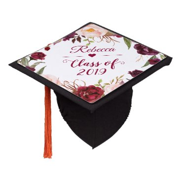 Class of 2018 Burgundy Blush Floral Graduate Graduation Cap Topper
