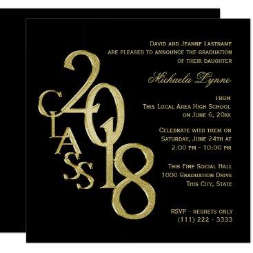Class of 2018 Elegant Gold and Black Invitation