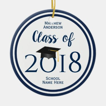 Class of 2018 Elegant Graduation Cap Graduate Ceramic Ornament