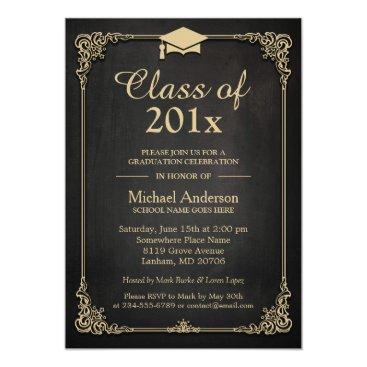 Class of 2018 Grad Cap Elegant Classy Graduation Invitation