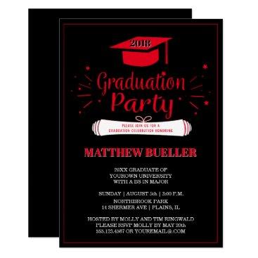 Class of 2018 Grad Cap Red Black Graduation Party Card