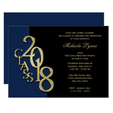 Class of 2018 Grad Gold with Color Option Invitation