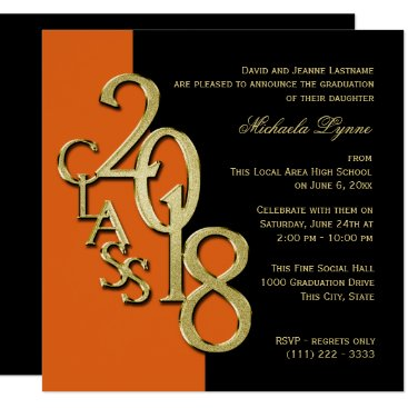 Class of 2018 Grad Orange and Gold Card