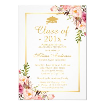 Class of 2018 Graduation Elegant Chic Floral Gold Invitation
