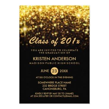 Class of 2018 Graduation Gold Glitter Glam Sparkle Invitation