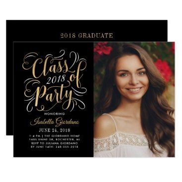 Class of 2018 Photo Party Invitation | Gold