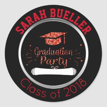 Class of 2018 Red Glitter Graduation Party Seals