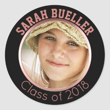 Class of 2018 Rose Gold Graduation Photo Name Classic Round Sticker