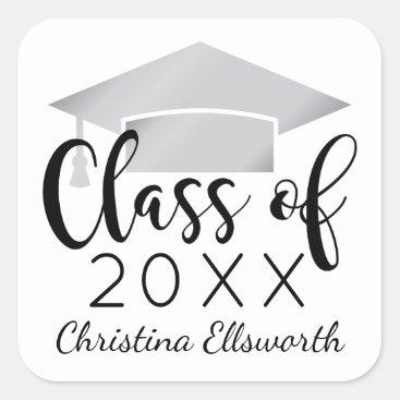 Class of 2018 | Silver Cap Graduation Square Sticker