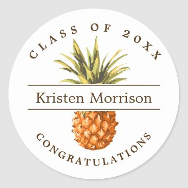 Class of 2018 Tropical Pineapple Graduation Party Classic Round Sticker