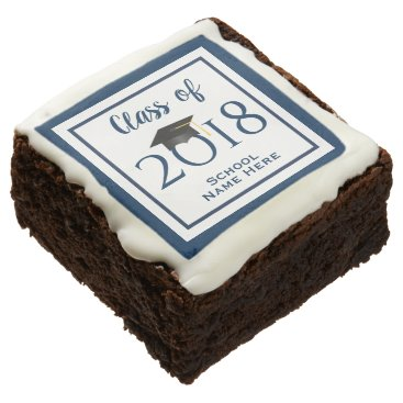 Class of 2019 Navy Blue Border Grad Cap Graduation Chocolate Brownie
