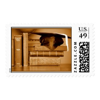 Classic Books on Graduation Day Postage Stamp