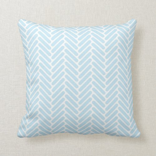 Classic Herringbone Pattern in Baby Blue and White Throw Pillow