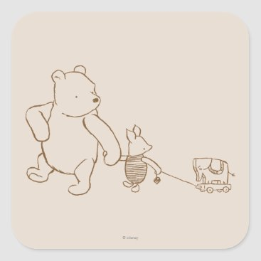 Classic Winnie the Pooh and Piglet 2 Square Sticker