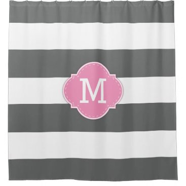 Classy Dark Grey and White Stripes with Monogram Shower Curtain