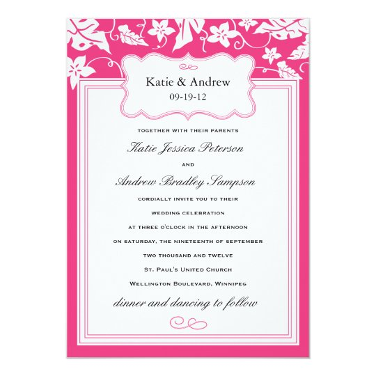 Cly Hot Pink Wedding Invitation Template