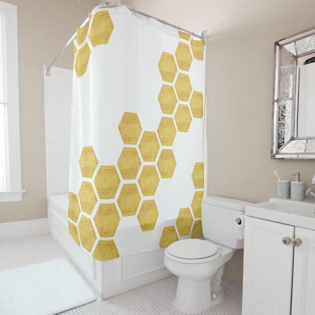 classy matte gold white hexagons geometric shower curtain zazzle com