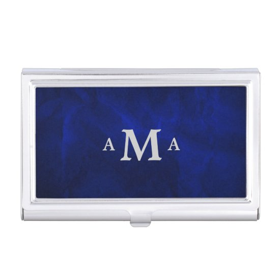 Classy Royal Blue Silver Monogram Business Card Case