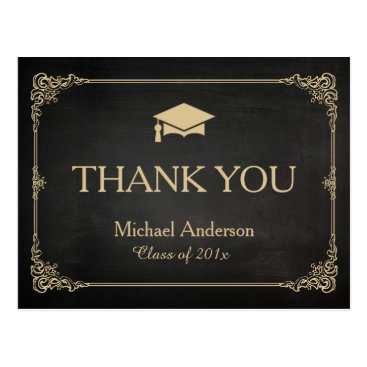 Classy Stylish Gold Grad Cap Graduation Thank You Postcard