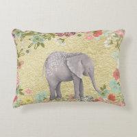 Classy Watercolor Elephant Floral Frame Gold Foil Accent Pillow