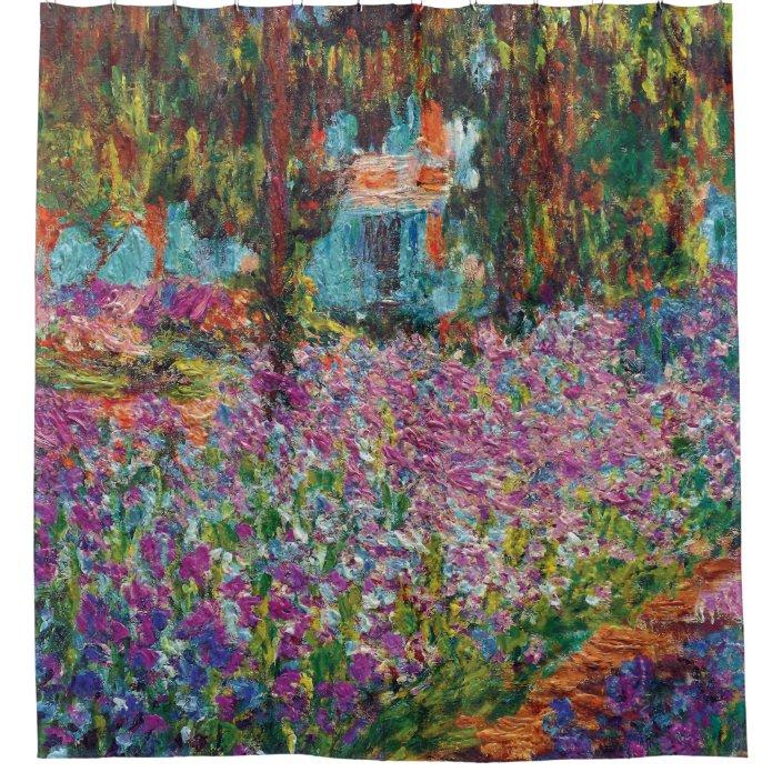 claude monet irises in monet s garden fine art shower curtain zazzle com
