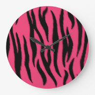 Clock, zebra pattern on Zazzle