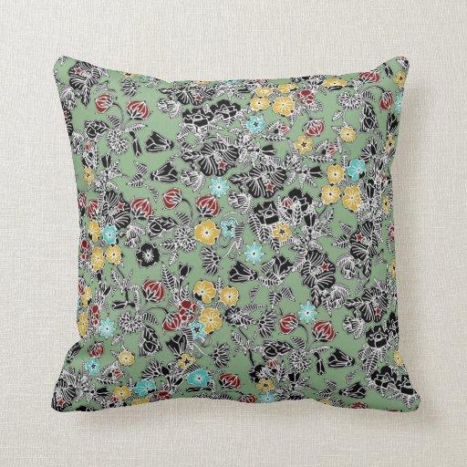 cloisonne flowers sage throw pillow  Zazzle