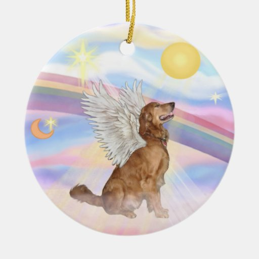 Clouds Golden Retriever Angel Ceramic Ornament Zazzle
