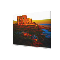 Coastal Landscape and Beach Resort Art Stretched Canvas Print