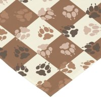 Coffee and Cream Checkered Paw Print Pattern Short Table ...