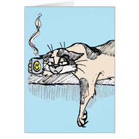 "Coffee Kitty is NOT a morning cat *ahem* ""person""! Card"
