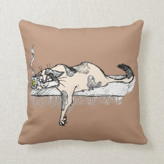 "Coffee Kitty is NOT a morning cat *ahem* ""person""! Pillow"