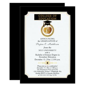 College of Education Degree Gold Apple Graduation Invitation