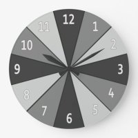 Color Wheel Grey with Digits Large Clock | Zazzle