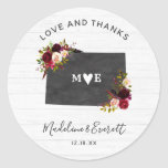 Colorado State Rustic Wedding Love Thank You Classic Round Sticker