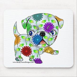 Colored Pug Mouse Pad