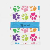 Colorful Animal Paw Prints Fleece Blanket